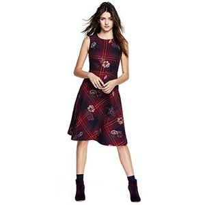 Lands End Tartan Floral Sleeveless Flounce Dress